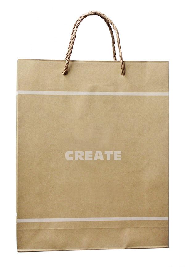 紙三本紐ハンドルのクラフト紙袋