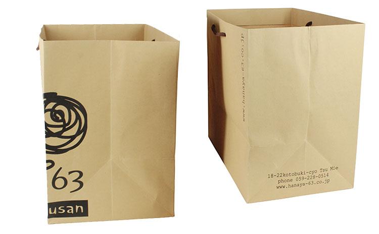 株式会社花やの六さん様 オリジナル紙袋 マチデザイン比較