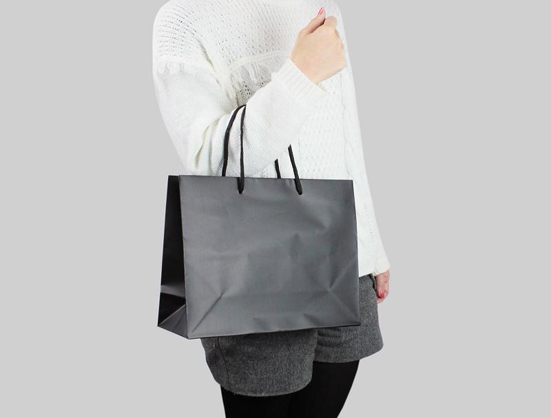 紙袋販売netオリジナル商品のマットクールバッグMサイズ黒を手に持ってみたサイズイメージ写真(ななめ)
