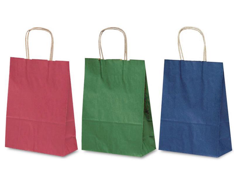 赤、緑、紺のカラーで印刷したカジュアルな紙袋です。