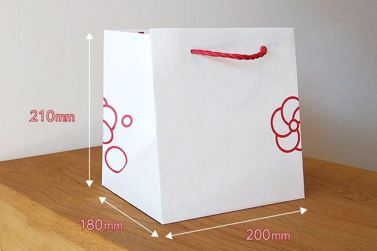 袋サイズは正立方体に近い、小さいマチ広サイズのW200×H210×G180mm。